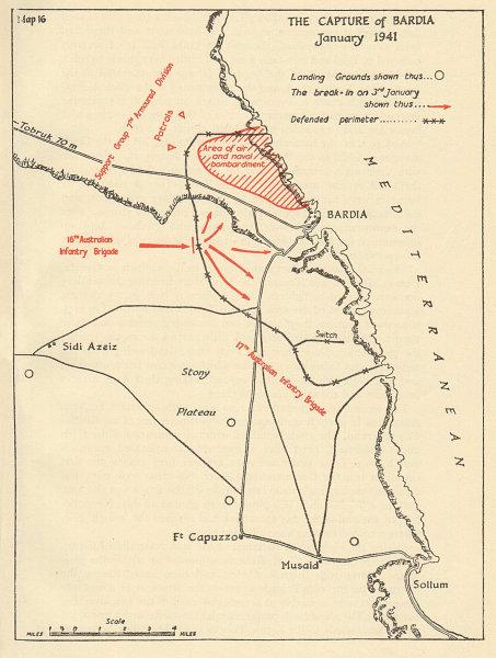 Associate Product Battle of Bardia, January 1941. Libya. El Burdi. Sketch map. World War 2 1954