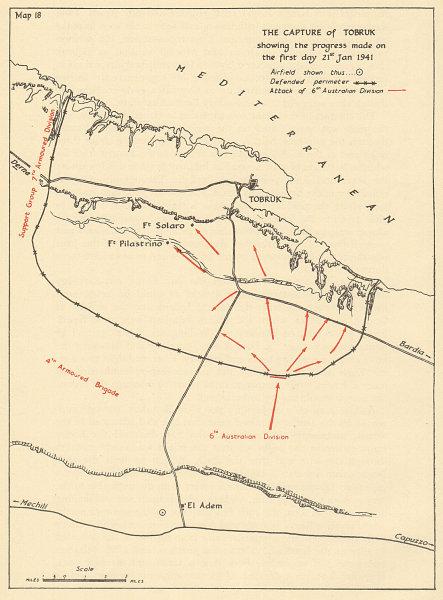 Associate Product Capture of Tobruk 21 January 1941 6th Australian Division. Sketch map 1954