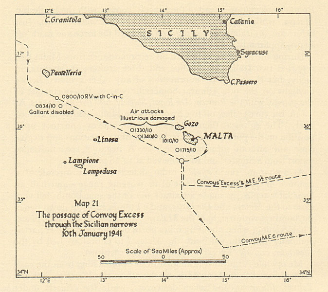 Associate Product Malta convoys. Operation Excess Sicilian Narrows 10 January 1941 Sketch map 1954
