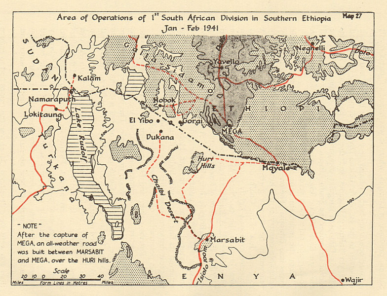 Associate Product 1st South African Division ops, Southern Ethiopia, Jan-Feb 1941. Sketch map 1954