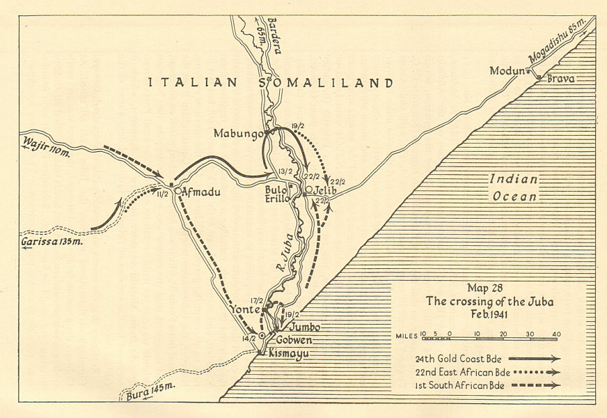 Associate Product Crossing River Juba Feb 1941 Kismayo Italian Somaliland Somalia. Sketch map 1954