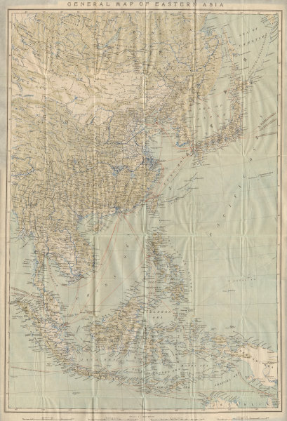 Associate Product 'General Map of Eastern Asia'. China Japan Philippines Indonesia 1913 old
