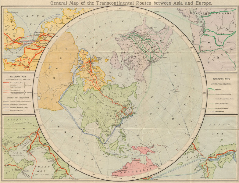 Associate Product Sea & rail routes between Asia & Europe. Trans-Siberian railway 1913 old map