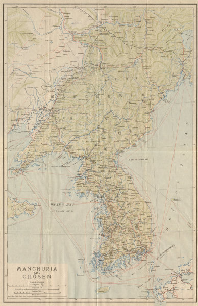 Associate Product 'Manchuria and Chosen'. The Korean peninsula & North East China 1913 old map