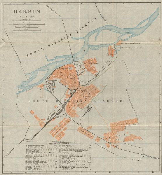 Harbin antique town city plan. Heilongjiang, China 1913 old map chart