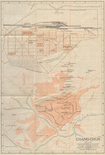 Associate Product Changchun antique town city plan. Jilin, China 1913 old map chart