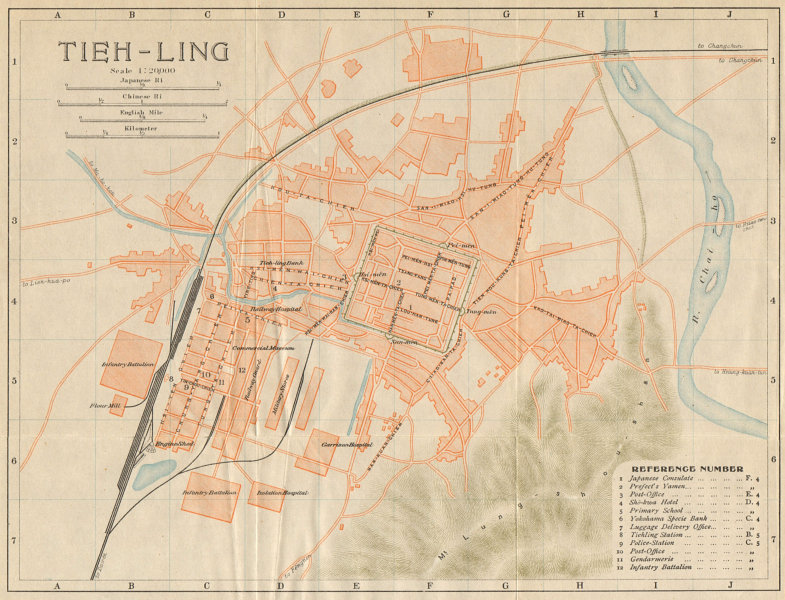 Associate Product 'Tieh-ling'. Yinzhou, Tieling antique town city plan. Liaoning, China 1913 map