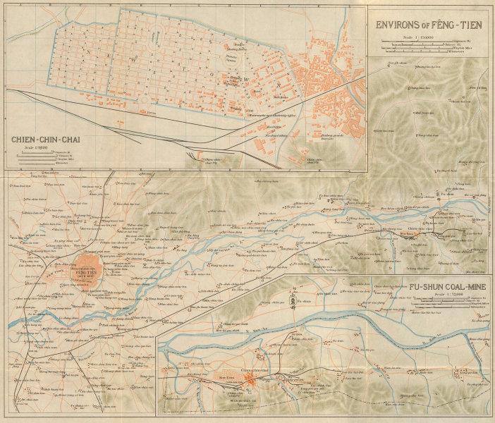 Associate Product 'Environs of Feng-tien'. Shenyang, Fushun & Xinfu mines. Liaoning China 1913 map