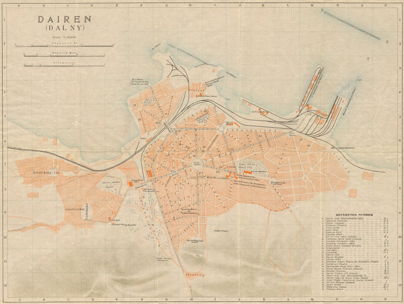 Associate Product 'Dairen (Dalny)'. Dalian antique town city plan. Liaoning, China 1913 old map