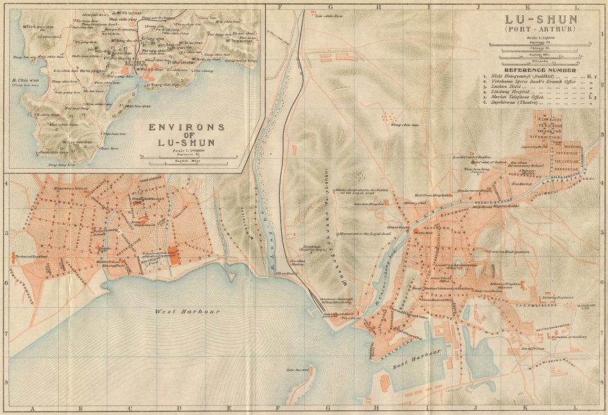 Associate Product 'Lu-shun (Port Arthur)'. Lushunkou, Dalian city plan. Liaoning, China 1913 map