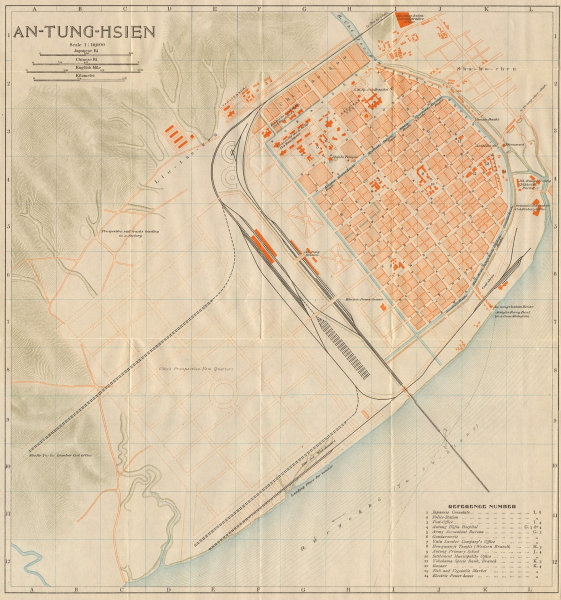 Associate Product 'An-tung-hsien'. Dandong antique town city plan. Liaoning, China 1913 old map