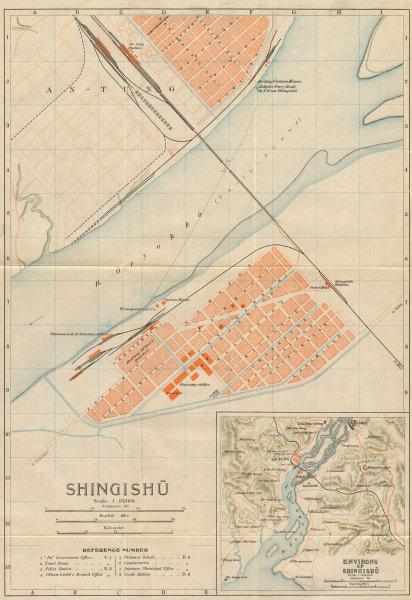 Associate Product 'Shingishu' & Dandong. Sinuiju antique city plan. North Korea/China 1913 map