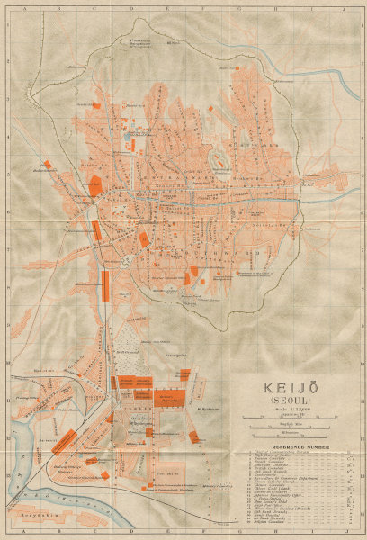Associate Product 'Keijo'. Seoul antique town city plan. South Korea 1913 old map chart