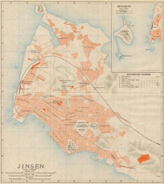 Associate Product 'Jinsen [&] Getsubito'. Incheon antique town city plan. South Korea 1913 map