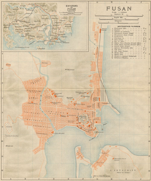 Associate Product 'Fusan' & environs. Busan antique town city plan. South Korea 1913 old map