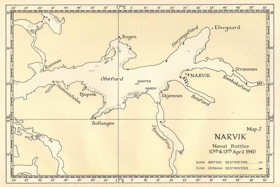 Associate Product World War 2 Invasion of Norway. Narvik: Battles 10 & 13 April 1940 1952 map