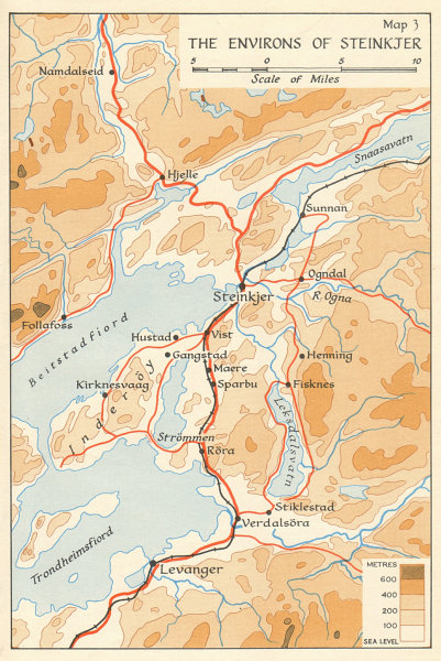 Associate Product World War 2 Norway Campaign. Steinkjer environs 1940. German Invasion 1952 map