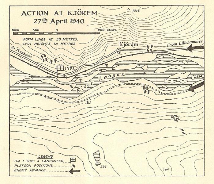 Associate Product World War 2 Norway Campaign Kjorem 27 April 1940 German Invasion SMALL 1952 map