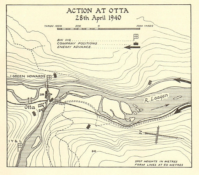 Associate Product World War 2 Norway Campaign Otta 28 April 1940 German Invasion SMALL 1952 map