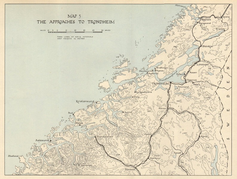 Associate Product World War 2 Norway Campaign. Trondheim approaches 1940. German Invasion 1952 map