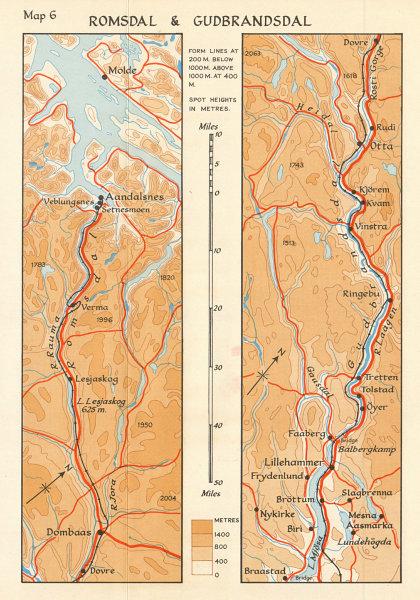 Associate Product World War 2 Invasion of Norway. Romsdal & Gudbrandsdal 1940 1952 old map