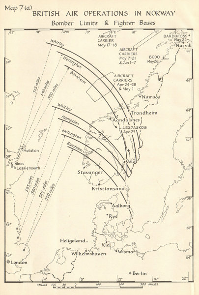 Associate Product Norway -  British Air Operations 1940. Bomber Limits Fighter Bases. WW2 1952 map