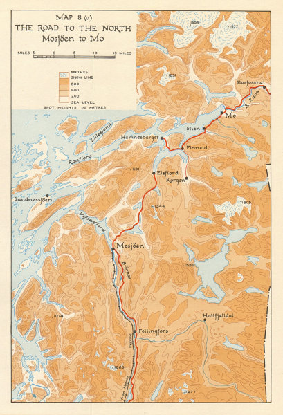Associate Product World War 2 Norway Campaign. Mosjoen to Mo road 1940. German Invasion 1952 map