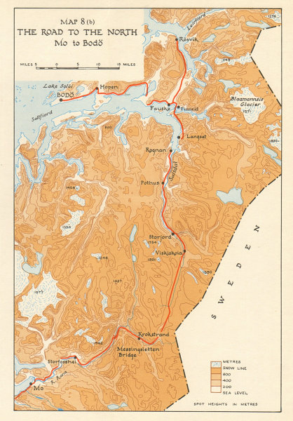 Associate Product World War 2 Norway Campaign. Road from Mo to Bodo 1940. German Invasion 1952 map