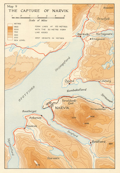 Associate Product World War 2 Norway Campaign. Capture of Narvik 1940. German Invasion 1952 map
