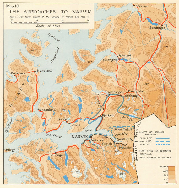World War 2 Norway Campaign. Narvik approaches 1940. German Invasion 1952 map