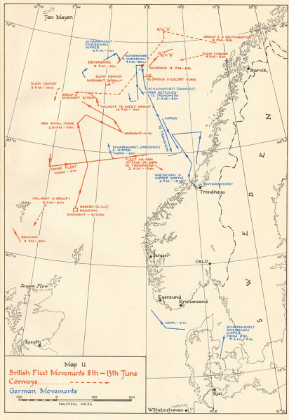 World War 2 Invasion of Norway. Naval Movements 8-13 June 1940 1952 old map