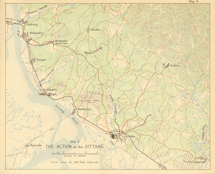 Associate Product Battle of Sittang Bridge February 1942. Japanese conquest of Burma. WW2 1961 map