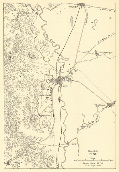 Associate Product Pegu 1942. Japanese conquest of Burma. Bago Myanmar. World War 2 1961 old map