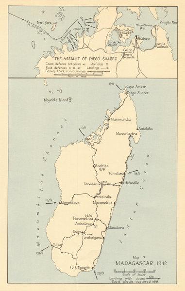 Associate Product Battle of Madagascar 1942. Assault of Diego Suarez Antsiranana Ironclad 1961 map