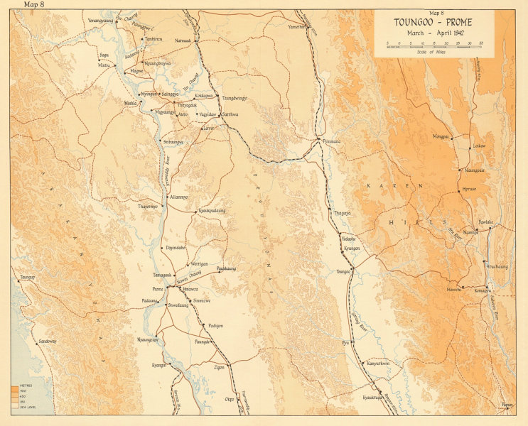 Associate Product Taungoo-Prome/Pyay March-April 1942. Japanese conquest of Burma. WW2 1961 map
