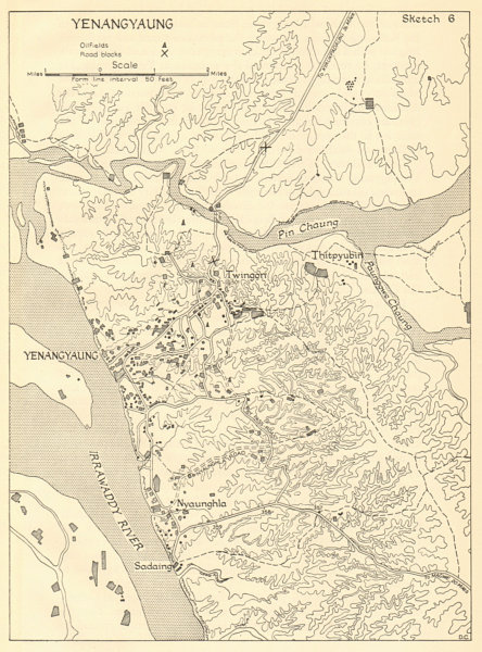 Associate Product Battle of Yenangyaung April 1942. Japanese conquest of Burma. Oilfields 1961 map