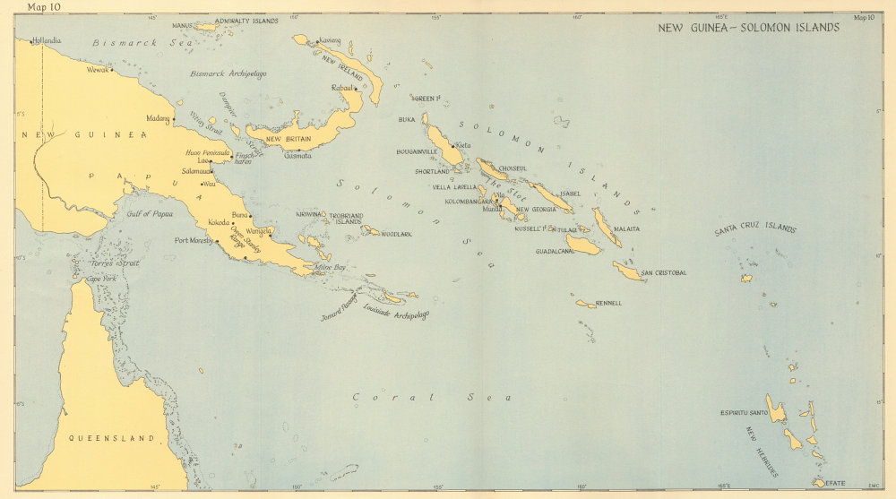 Associate Product New Guinea-Solomon Islands 1942/3. Pacific Campaign. World War 2 1961 old map