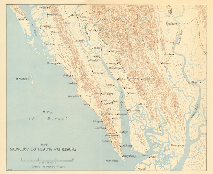 Associate Product Maungdaw-Buthidaung-Rathedaung 1943. Japanese conquest of Burma. WW2 1961 map