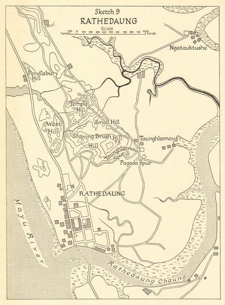 Associate Product Battle of Rathedaung 1943. Japanese conquest of Burma. World War 2 1961 map