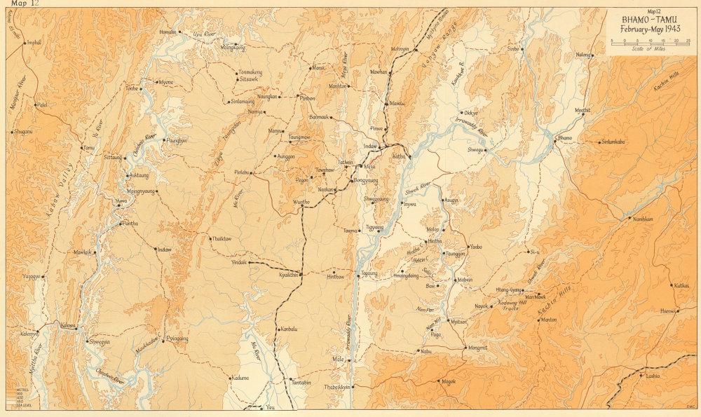 Associate Product Bhamo-Tamu, February-May 1943. Japanese conquest of Burma. World War 2 1961 map