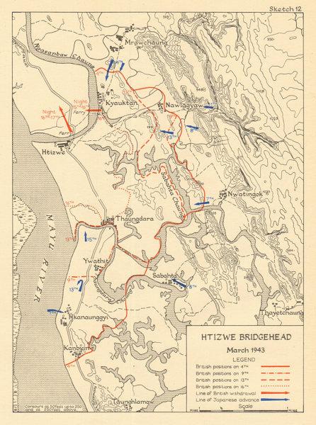 Associate Product Htizwe Bridgehead March 1943. Japanese conquest of Burma. World War 2 1961 map
