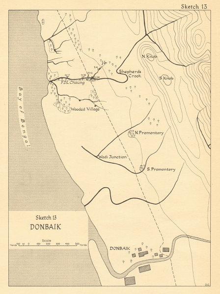 Associate Product Donbaik 1943. Burma Campaign. World War 2. Myanmar. Arakan 1961 old map