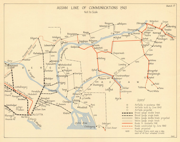Assam Line of Communications 1943. Burma Campaign WW2 India 1961 old map