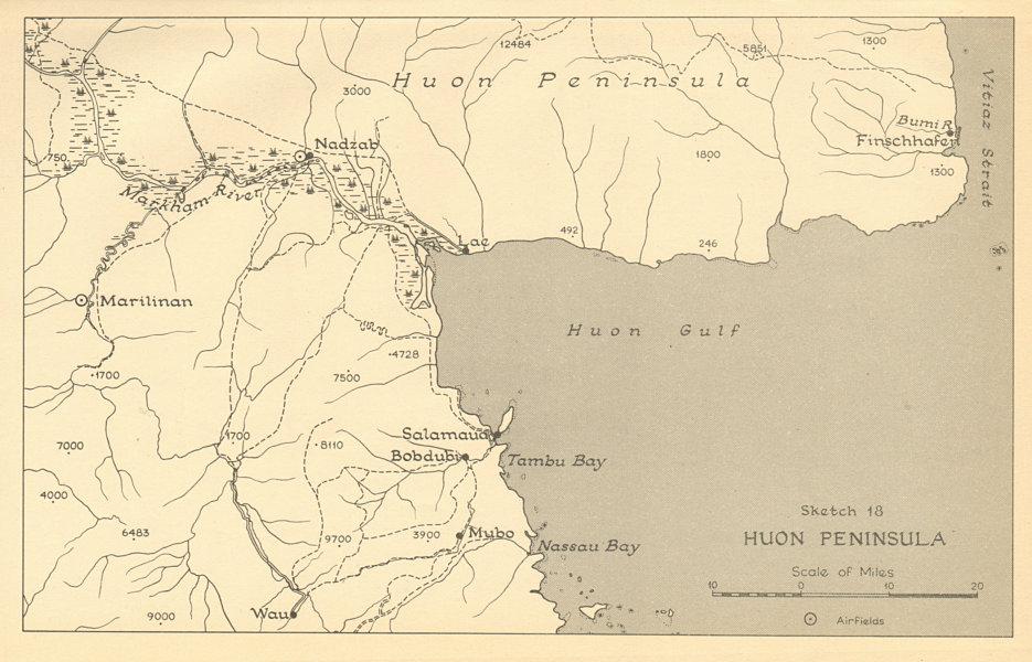 Associate Product Huon Peninsula campaign 1943. Papua New Guinea. World War 2 1961 old map