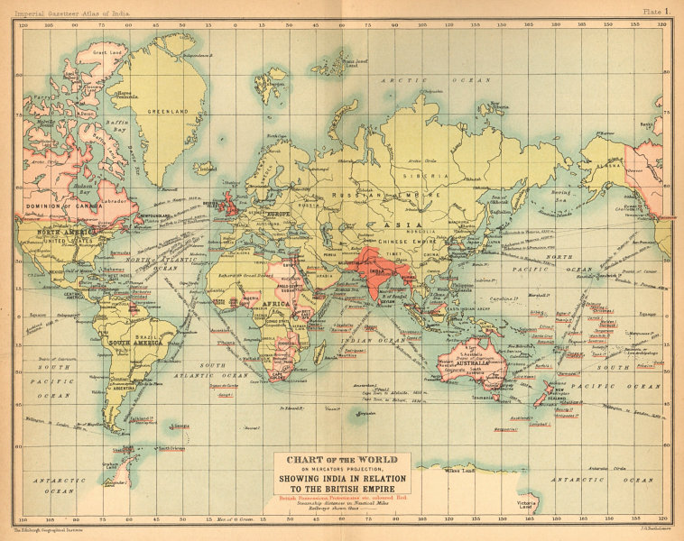 Associate Product World Mercator's on projection. India in relation to the British Empire 1909 map