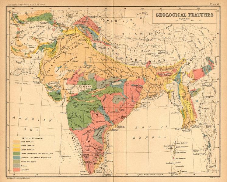 Associate Product BRITISH INDIA GEOLOGICAL MAP. Tertiary Cretaceous Archaean Purana Gondwana 1909