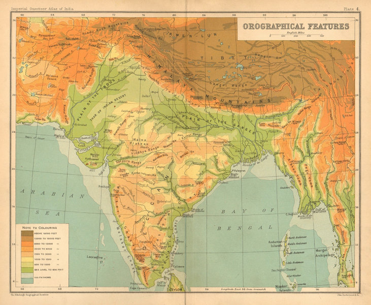 Associate Product SOUTH ASIA RELIEF. India Burma Pakistan Orographical Features 1909 old map