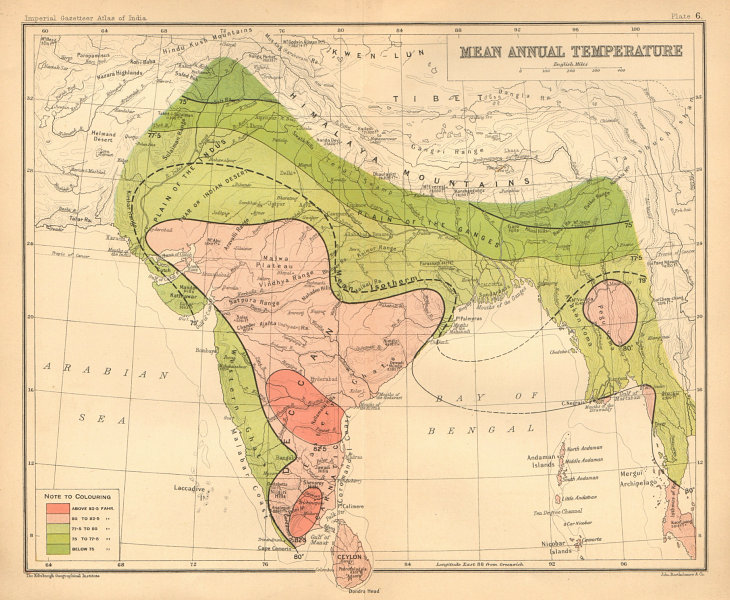 Associate Product SOUTH ASIA. British India & Burma. Mean Annual Temperature 1909 old map