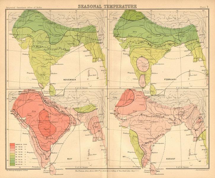 Associate Product SOUTH ASIA. British India & Burma. Seasonal Temperatures 1909 old antique map