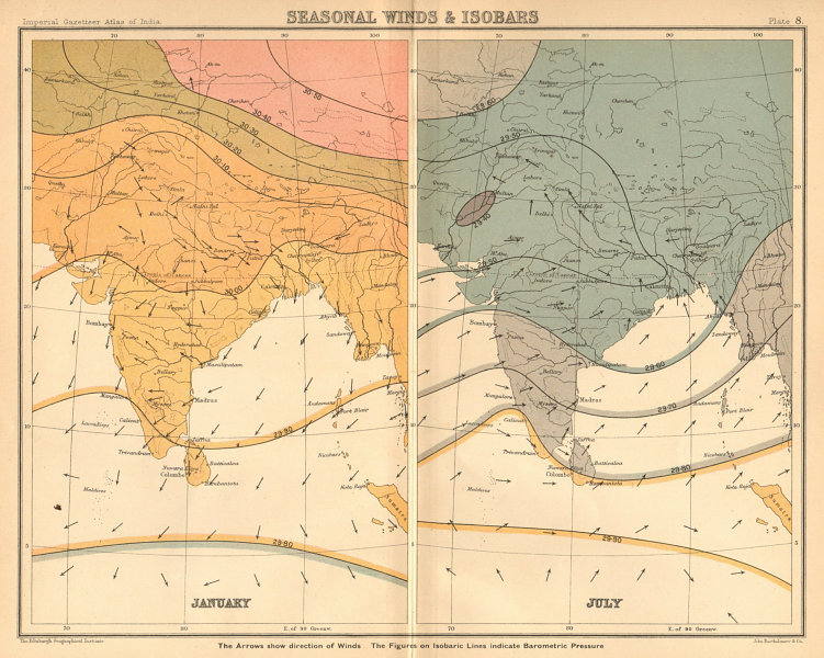 Associate Product SOUTH ASIA. British India. Seasonal Winds and Isobars - January & July 1909 map